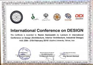 تقدیر نامه کنفرانس دیزاین دانشگاه الزهرا